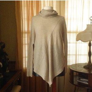 360sweater cashmere hi-lo tri turtle neck sweater